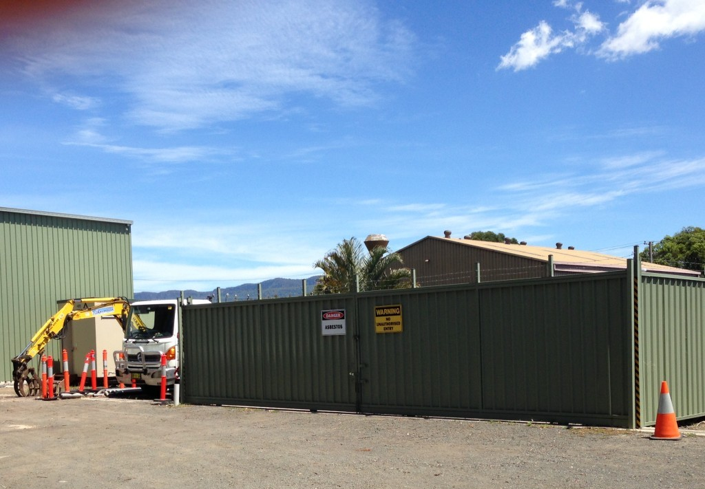 The restricted storage area for waste materials in transit