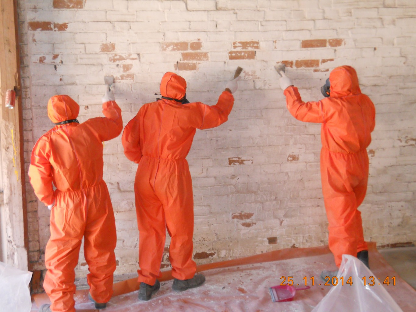 Lead Paint Recovery Of Brickwork.